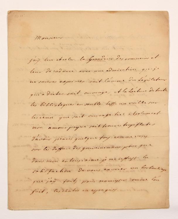 Maurice de SAXE (1696-1750) maréchal. L.A.S., [1737 ?, à MONTESQUIEU] ; 3 pages et demie in-4. [CM 478]