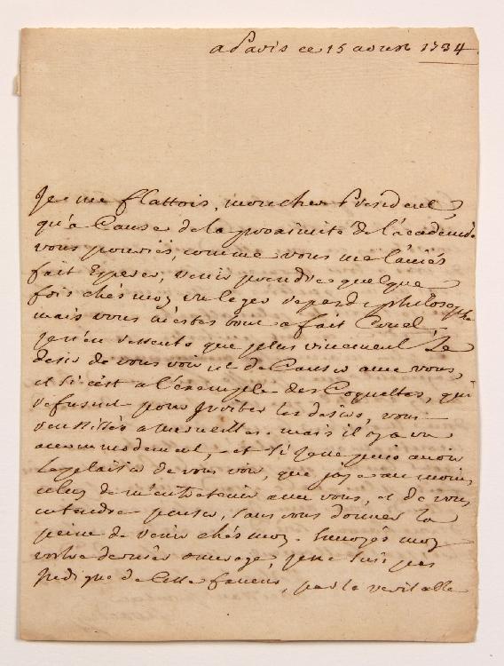 Louis-Alexandre de GIRARDIN, marquis de VAUVRAY (1698-1782) conseiller au Parlement de Paris. L.A.S., Paris 15 août 1734, au Président de MONTESQUIEU à Paris ; 2 pages in-4, adresse. [CM 406]
