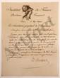 Louis-Simon AUGER (1772-1829) écrivain. 5 L.A.S. et 1 L.S., Paris et Pomard 1820-1828, au marquis de LALLY-TOLENDAL, plus une L.A. (minute) de LALLY-TOLENDAL ; 14 pages in-4, 2 à vignette et en-tête Institut de France [...] Le Secrétaire perpétuel de