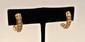 Paire de demi créoles en or jaune ornées d'une ligne de petits diamants, poids brut : 6 g - Gold and little diamonds earrings, weight : 5,3 dwt