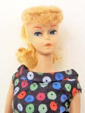 1961 BLONDE PONYTAIL BARBIE DOLL #5 W/ ORIGINAL SWIMSUIT