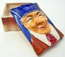 VINTAGE HAND PAINTED WALES CHINA TOBY CIGARETTE CASE