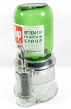 VERY RARE VINTAGE 7-UP SODA SHOP SYRUP DISPENSER W/ ART DECO GLASS BASE