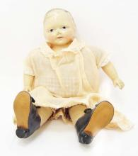 ANTIQUE COMPOSITION DOLL W/ CRIER & CLOTHES