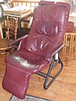 Retro leather reclining armchair, fully adjustable
