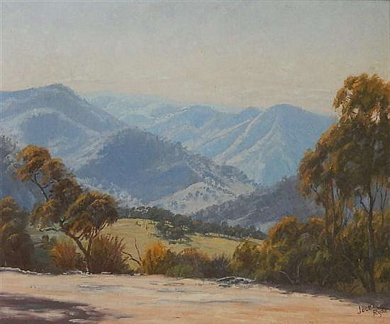 Jack Ryde View of the Valley Oil on canvas on board
