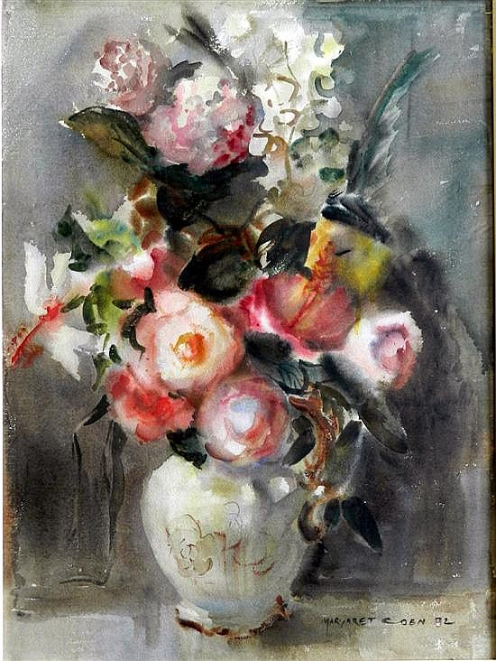 Margret Agnes Coen (1913-1993) Still Life with Hibiscus 1972 Watercolour