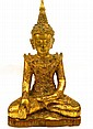 An 18th/19th Century Burmese Shan Period gilt lacquer Seated Buddha,
