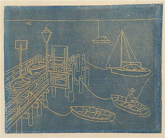 Harold Greenhill (1914-1995) The Cargo Wharf, Manly Linocut