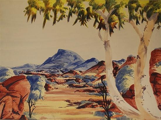 Athanasius Renkaraka (1944-1989) The MacDonnell Ranges Watercolour