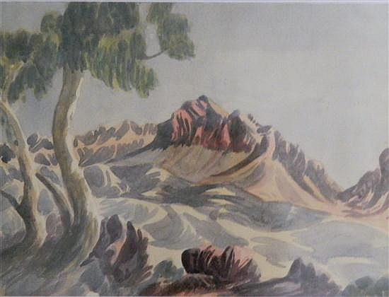 Otto Pareroultja (1914-1973) MacDonnell Ranges Landscape Watercolour