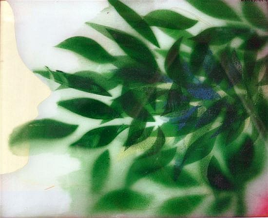 Charles Blackman (b.1928) Green Leaves Stencil & cutout on card