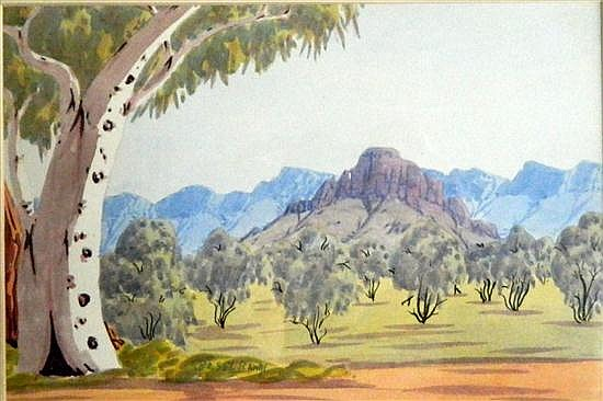 Basil Rantji (1936-1999) Ghost Gum & McDonnell Ranges Watercolour