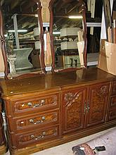 Large walnut veneered dressing table and two matching mirrors 180 x 46 x 78 cm
