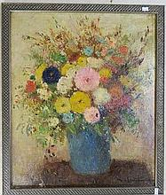 European School 20th Century Still Life, Flowers Oil on canvas on board