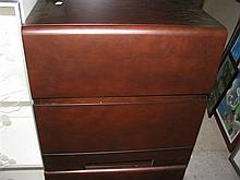 Two Dark Stain Bedside Cabinets with Two Drawers 50 x 47 x 50 cm
