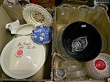 Two Boxes of Glass and Ceramics Including Royal Doulton, Royal Winton, IItalin & Nao