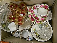 Two Boxes of Ceramics & Glass, Including Royal Albert Trios