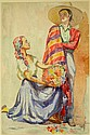 Constance Tempe Manning (1896-1960) (The Flower Seller) Watercolour
