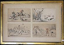 English School (Early 19th Century) Hunting Scenes (8 in 2 frames) Handcoloured lithographs