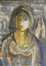 Judy Cassab (b.1920) Portrait of a Girl Mixed media on paper on board