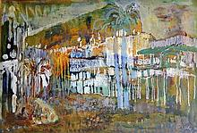 Judy Cassab (b.1920) Far North Queensland Townscape Mixed media on paper on board