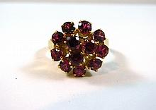 A 14ct Yellow Gold Ruby Cluster Ring