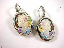 A pair of Sterling Silver and Enamel Cameo Earrings