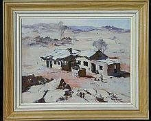 Peter Williams (act. 1990s) New Zealand/Australia Desert Hut Oil on canvason board