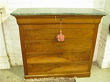 A French Empire Style mahogany marble top Chest of Drawers
