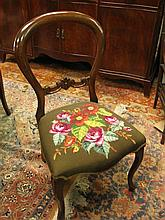Six Victorian style balloon back dining chairs