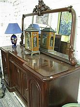 A mid Victorian mirror back mahogany sideboard with 4 doors and 1 drawer