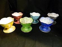 A set of six Maling Harlequin comports