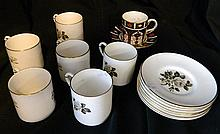 6 Royal Worcester demi tasse & 1 Royal Crown Derby Imari Palette demi tasse