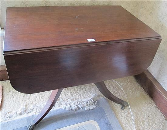 A Georgian mahogany drop side table, on centre column to four splay legs, fitted with drawer 90