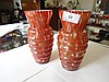 Pair orange and white marbled glass vases