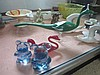 4 items. 2 Italian glass birds (AF), 2 blue glass bears