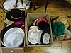 Three boxes of assorted vintage men and women's hats