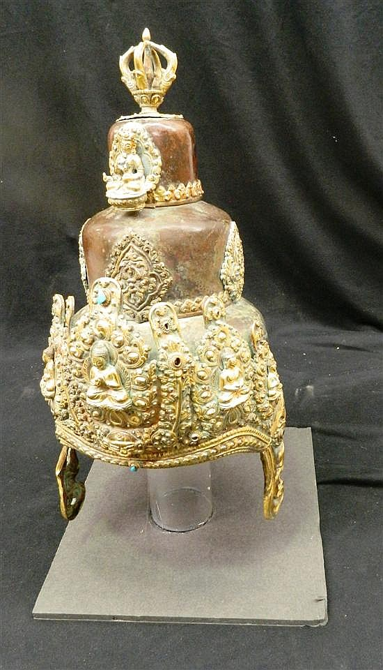 An Impressive Sino-Tibetan Priest Ceremonial Headress