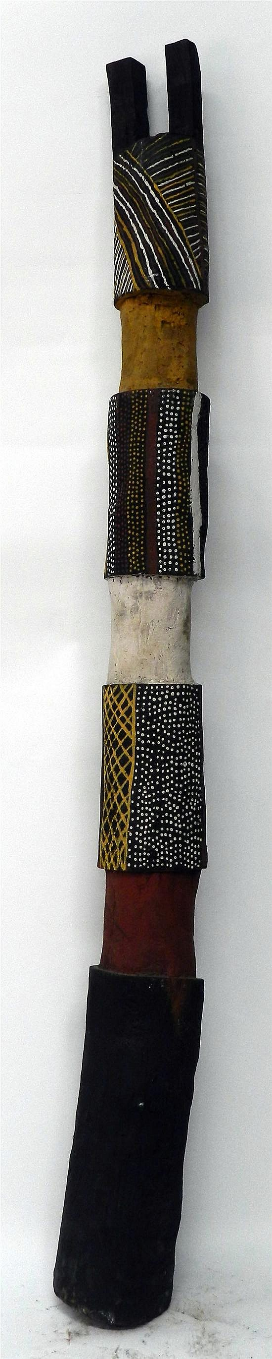 Artist Unknown Tiwi Islands Forked Pukami Pole 1989 Earth pigments on Ironwood