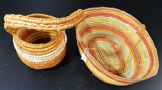 Two Pandanus Woven Baskets, Margarent Yalarrawuy (2)