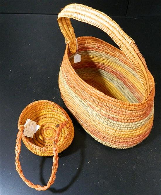 Two Pandanus Woven Baskets (2)
