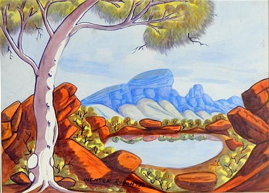 Wenton Rubuntja Tjabanati (1926-2005) Mount Zeil, Central Australia 1990 Watercolour