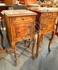Two French Louis XV Style Walnut Marble Toped Bedside Cabinets, Matched