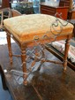 A French 19th Century Louis XVI Style Walnut Stool, with 18th century tapestry fragment upholstery