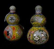 Two famille jaun glass snuff bottles