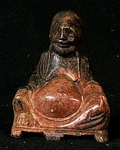 A Chinese coloured soapstone carving of happy Buddha