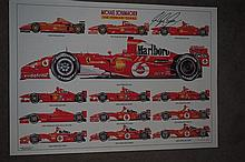 A Limited Edition 7/250 print, Michael Schumacher, The Ferrari Years signed by Michael Schumacher