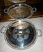 Two Hecworth Reproduction Old Sheffield Silver Plate Twin Handled Trays