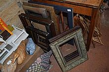 A quantity of various picture frames